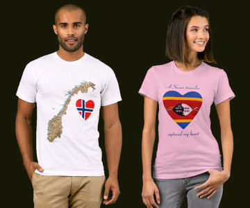 Norway Flag Heart Map T-Shirt